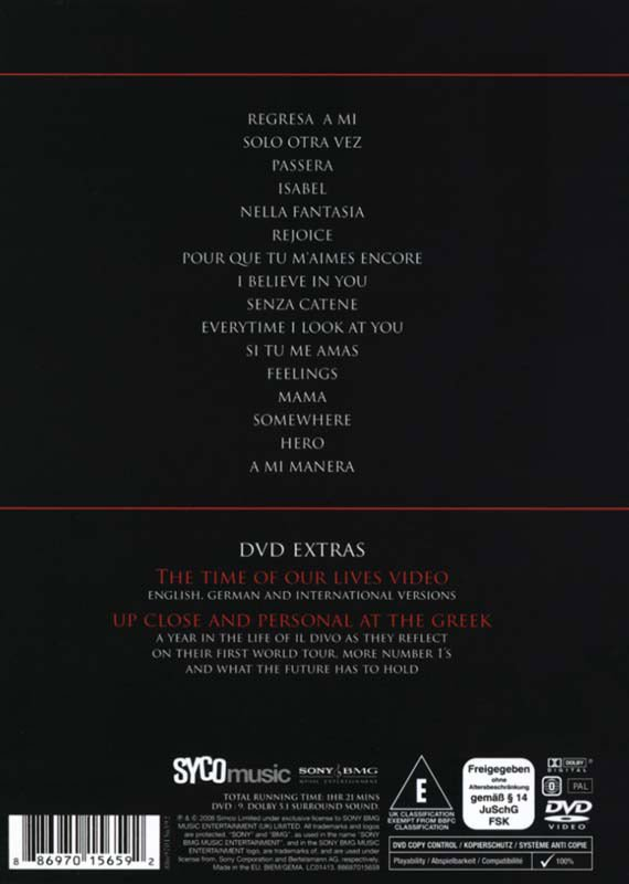 Il divo live at the greek theatre dvd film - Il divo film ...