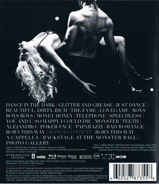 Lady Gaga The Monster Ball Tour At Madison Square Garden Blu Ray Film